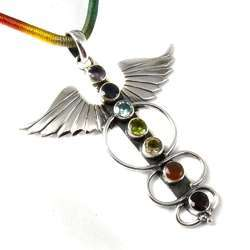 Wings Design 925 Sterling Silver Chakra Pendant