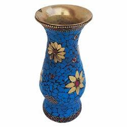 Brass Flower Pot With Stone Work