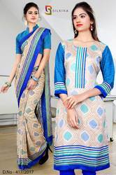 Blue and Beige Silk Georgette Uniform Saree Kurti Combo