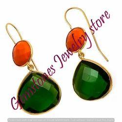 Green Tourmaline Hydro & Orange Gemstone Earrings