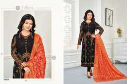 Black & Red Georgette Embroidered Salwar Suit With Banarasi Dupatta