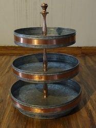 Galvanised Round 3-tier Storage Stand / Cake Stand W/copper Strip