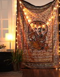 Beige Mandala Printed Cotton Ganesha Wall Hanging Tapestry