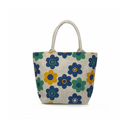 Juteberry White Jute Bags Floral Print