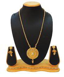 Traditional Long Golden Mala Pendant Set