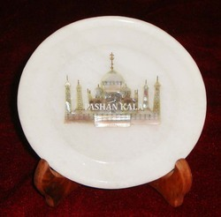 Marble Inlay Taj Mahal Plate