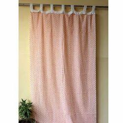 Zigzag Hand Block Print Pattern Curtain
