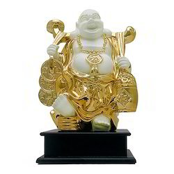 Gold Plated Laughing Buddha Statue Corporate Gift Item