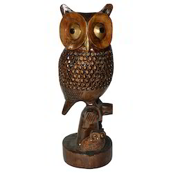 Wooden Owl With Black Finishing Work
