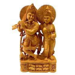 Natural Wooden Carving Vishnu Laxmi Statue