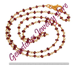 Garnet Rosary Chain Necklace