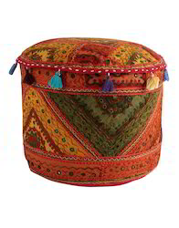 Mirror Work And Embroidered Cotton Pouf Multi Round Ottoman