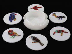 Marble Inlay Tea Coaster Decorative Designs