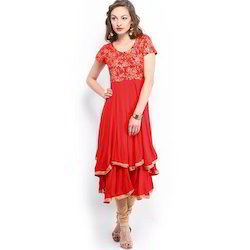 Ira Soleil Red Block Printed Double Layred Viscose Knitted