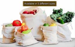 100% GOTS Muslin Fabric Bags - Reusable Bag