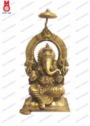 Lord Ganesh Sitting On Throne Statue
