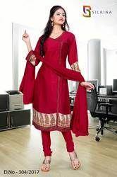 Maroon Silk Georgette Uniform Salwar Kameez