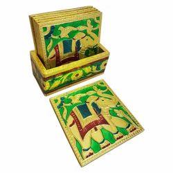 Meenakari Elephant Design T-Coaster Set