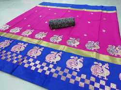 Embroidery Work Cotton Silk Saree With Double Blouse Piece