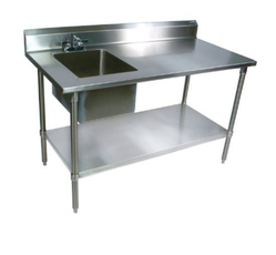 SS.Work Table with Sink & 2 U/s & Ohs & Radiation Reflector