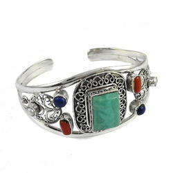 925 Sterling Silver Coral Turquoise Lapis Pearl Bangle