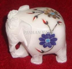 Marble Elephant With Inlay