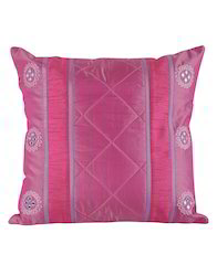 Designer Embroidered Polydupion Pink Cushion Cover