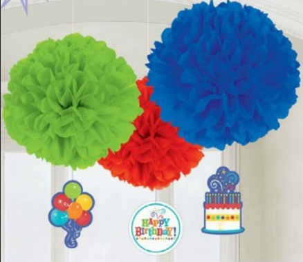 Amscan Birthday Fever Fluffy Tissue Balls Decorations