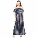Western Wear Designer One Piece Stripes Dress