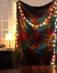 Gypsy Mandala Print Multicolor Leaves Tapestry Wall Hangings