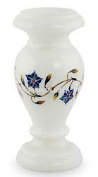 White Marble Inlay Flower Vase