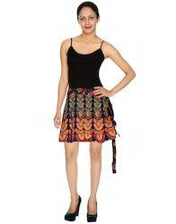 Damask Multicolor Printed Mini Skirt