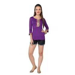 Ira-Soleil-Purple-Viscose-Knitted-Stretchable-Lace-3-4-Sleev