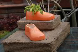 Ceramic Orange Shoe Planter