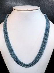 Blue Sapphire Smooth Rondelle Bead Necklace Jewelry