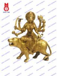 Goddess Durga On Lion Statue