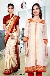 Beige With Red Border Tripura Cotton Uniform Saree Kurti Combo