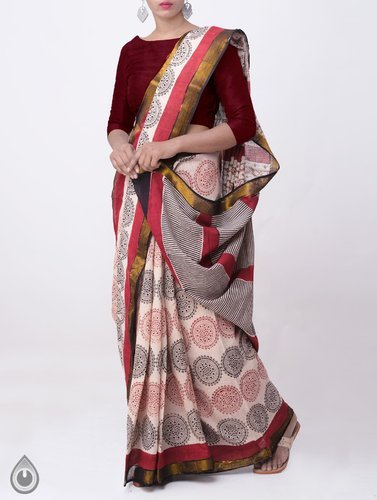2de2b2a552 Bagru Prints - Pure Rajasthani Cotton Saree With Bagru Prints ...