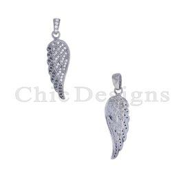 Black Spinal Diamond Feather Charm