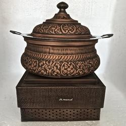 Smokey Copper Embossed Handi with Imperial Chowki Stand