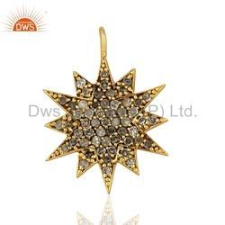 Pave Diamond Star Charm Pendant Jewelry Findings