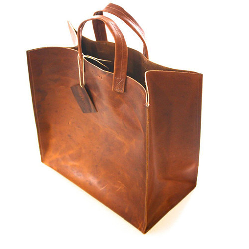 shopping bag läder