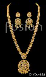Traditional Antique Stone Long Haram Necklace Set