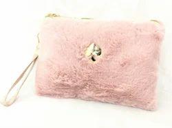 Shamax Spade Pink Fur Cosmetic Bag