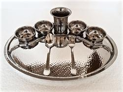 SS Oblong Hammered Rajdhani Thali Set