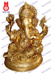 Ganesh Sitting W/ Pillow Richly Carved Statue