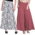 Printed Poly Crepe Regular Fit Palazzo Pant With Inner & Pocket Trousers For Girls