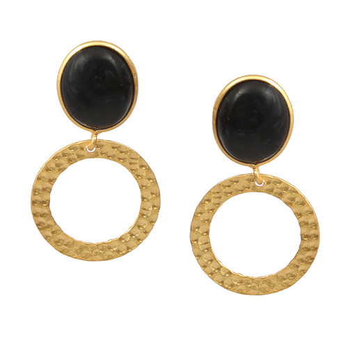 164e9e7de Silver Dangle Tiny Hammer Circle Oval Quartz Black Onyx Rhinestone Boho  Handmade Oval Stud Earring