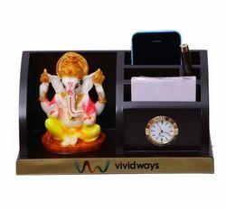 Wooden Pen Stand with Ganesh Ji Murti