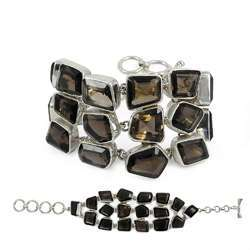 Eye Catching Smoky Quartz Sterling Silver Bracelet